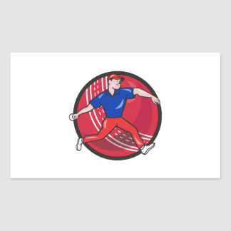 Cricket Bowler Bowling Ball Cartoon Rectangle Stickers