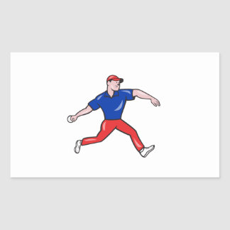 Cricket Bowler Bowling Ball Side Rectangle Stickers