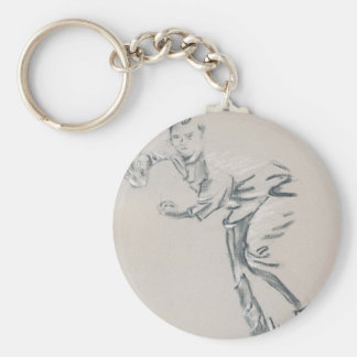 Cricket Bowler Basic Round Button Keychain