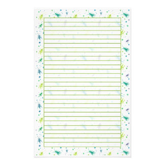 Cricket Bugs Watercolor Insects Green Lined Stationery