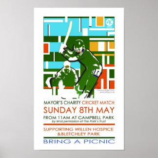 Cricket charity Milton Keynes poster/print Poster