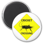 Cricket Crossing Sign 2 Inch Round Magnet