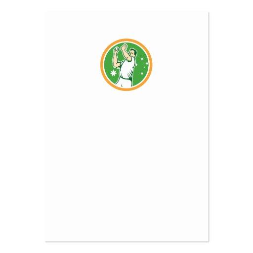 Cricket Fast Bowler Bowling Ball Circle Cartoon Business Cards