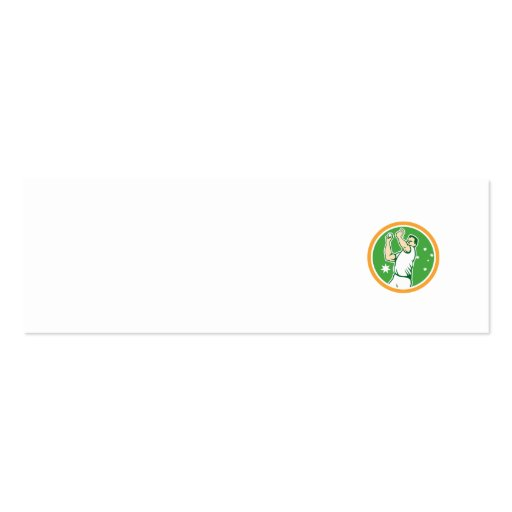 Cricket Fast Bowler Bowling Ball Circle Cartoon Business Card Template