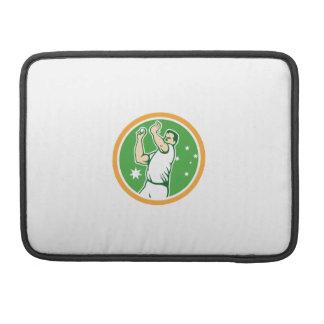 Cricket Fast Bowler Bowling Ball Circle Cartoon MacBook Pro Sleeve