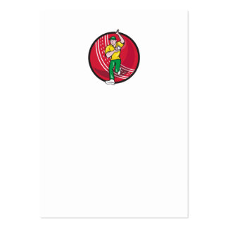Cricket Fast Bowler Bowling Ball Front Cartoon Business Cards