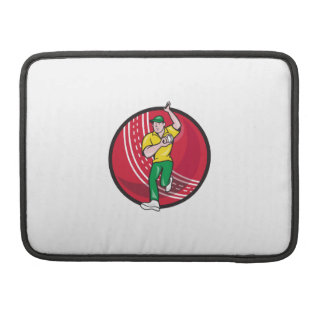 Cricket Fast Bowler Bowling Ball Front Cartoon Sleeve For MacBooks