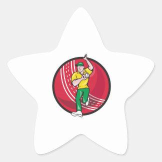 Cricket Fast Bowler Bowling Ball Front Cartoon Star Sticker