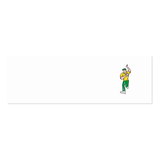 Cricket Fast Bowler Bowling Ball Front Isolated Business Card