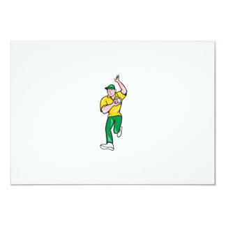 Cricket Fast Bowler Bowling Ball Front Isolated Invitation
