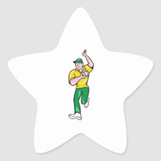 Cricket Fast Bowler Bowling Ball Front Isolated Star Sticker