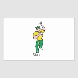 Cricket Fast Bowler Bowling Ball Front Isolated Rectangular Stickers