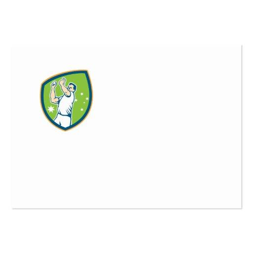 Cricket Fast Bowler Bowling Ball Shield Cartoon Business Card Templates