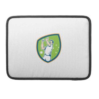 Cricket Fast Bowler Bowling Ball Shield Cartoon MacBook Pro Sleeves