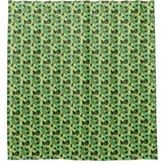Cricket Floral Pattern Black and Green Shower Curtain