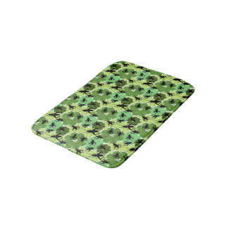 Cricket Floral Pattern Green and Black Bath Mats