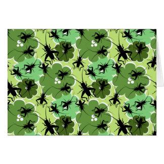 Cricket Floral Pattern Green + Black Card