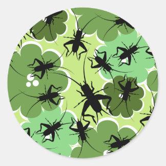 Cricket Floral Pattern Green + Black Classic Round Sticker