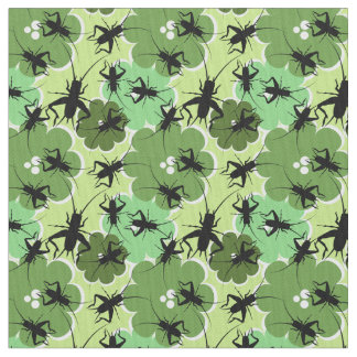 Cricket Floral Pattern Green + Black Fabric