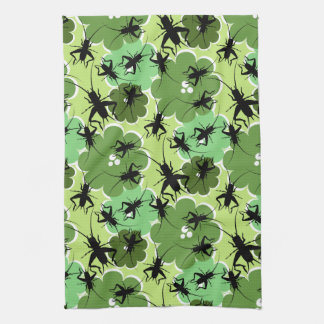 Cricket Floral Pattern Green + Black Kitchen Towel