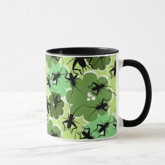 Cricket Floral Pattern Green + Black Mug