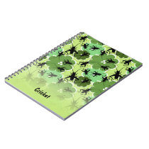 Cricket Floral Pattern Green   Black Notebook