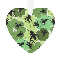 Cricket Floral Pattern Green   Black Ornament