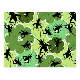 Cricket Floral Pattern Green + Black Postcard
