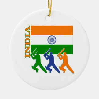 Cricket India Double-Sided Ceramic Round Christmas Ornament