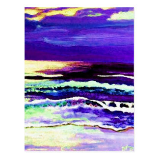 """Cricket Night Sea""  CricketDiane Ocean Art Postcard"