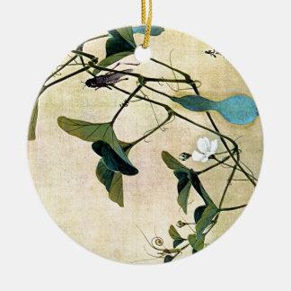 Cricket on a Vine Japanese Woodblock Art Ukiyo-E Ceramic Ornament