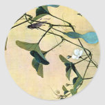 Cricket on a Vine Japanese Woodblock Art Ukiyo-E Classic Round Sticker