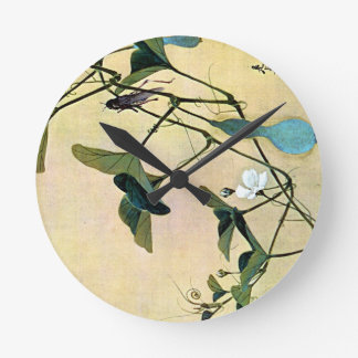 Cricket on a Vine Japanese Woodblock Art Ukiyo-E Wall Clocks