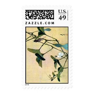 Cricket on a Vine Japanese Woodblock Art Ukiyo-E Stamps