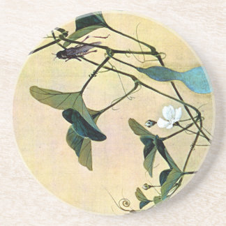 Cricket on a Vine Japanese Woodblock Art Ukiyo-E Sandstone Coaster