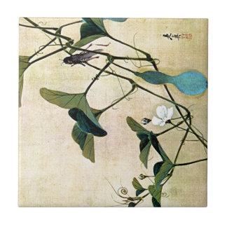 Cricket on a Vine Japanese Woodblock Art Ukiyo-E Tile