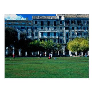 Cricket pitch on the esplanade, Corfu, Greece Postcard