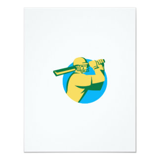 Cricket Player Batsman Batting Circle Retro 4.25x5.5 Paper Invitation Card