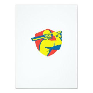 Cricket Player Batsman Batting Shield Retro 5.5x7.5 Paper Invitation Card