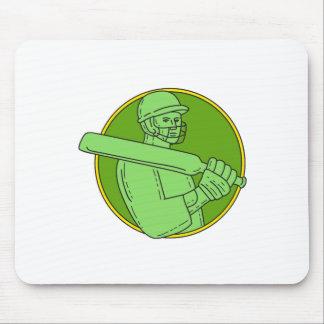 Cricket Player Batsman Circle Mono Line Mouse Pad