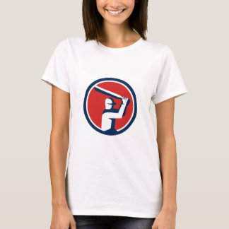 Cricket Player Batting Circle Retro T-Shirt