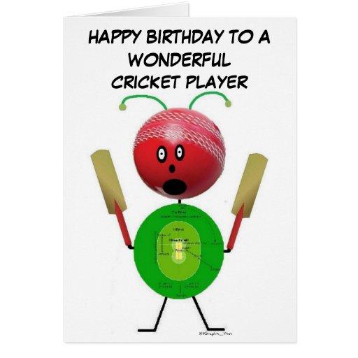 Cricket Player Birthday Greeting Cards