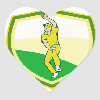 Cricket Player Bowling Crest Cartoon Heart Sticker