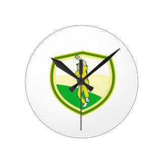 Cricket Player Bowling Crest Cartoon Round Clock