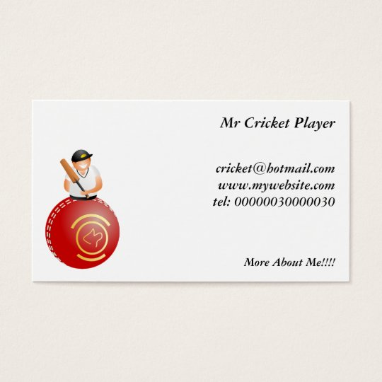 Cricket Player Business Card