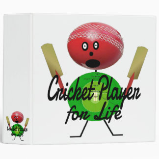 Cricket Player for Life Cartoon Binders