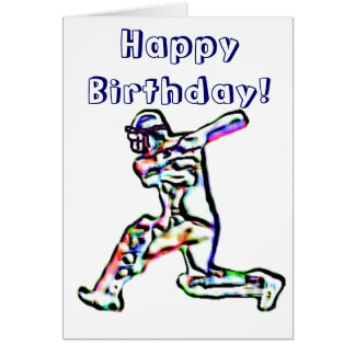 Cricket player happy birthday card