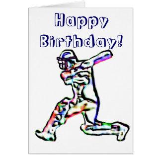 Cricket player happy birthday card