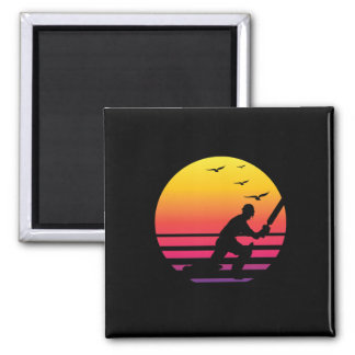 Cricket retro sunset, #Cricket Magnet