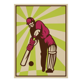 cricket sports batsman batting retro poster